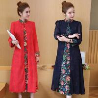 棉麻假两件连衣裙女秋冬新款民族风女装长款印花长袖立领裙子
