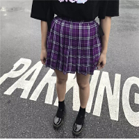 韩国INS同款复古大热紫色格子百褶裙短裙 女款