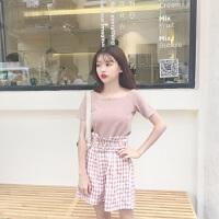 夏季时尚韩版休闲套装一字领T恤上衣+格子高腰阔腿裤短裤两件套 图色