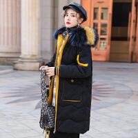 大毛领貉子毛羽绒服女2018新款中长款时尚韩版潮流撞黑色白鸭绒外套