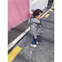 男童冬装外套2018新款儿童韩版棉衣男宝宝格子加厚1-2-3-5岁 黑白格