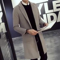 男风衣外套修身型中长款呢子大衣冬季青年中国风大码超长毛呢衣服