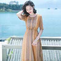 夏季新品女装气质裙子雪纺连衣裙长裙波西米亚海边度假沙滩裙 图片色XZB588