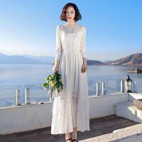 夏季新品女装白色两件套装雪纺连衣裙长裙波西米亚海边度假沙滩裙 白色XZC507