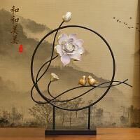 新中式禅意莲花铁艺摆件客厅玄关电视柜隔断装饰品家居摆设工艺品