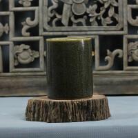陶瓷大笔筒手绘青花小书画缸筷子筒花盆金鱼缸书房摆件 茶叶末釉 直径9.5cm高12cm