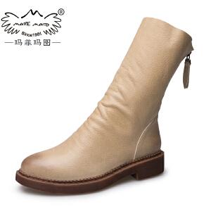 玛菲玛图2017秋冬女靴圆头女鞋后拉链中跟倒靴英伦马丁靴中筒靴子1561-13S