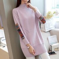 韩版中长款针织毛衣裙套头宽松贴布打底衫春装2018新款女连衣裙