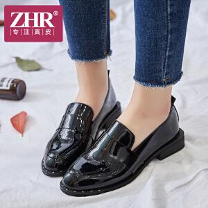 ZHR2018春季新款英伦风浅口单鞋乐福鞋平底黑色休闲鞋子粗跟女鞋J56