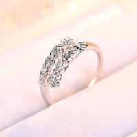 20180825044630025时尚心形镶钻戒指女日韩s925银简约钻戒指环情侣开口戒指