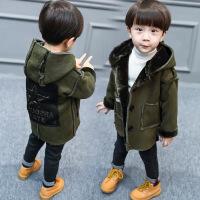 儿童装男童加绒加厚风衣宝宝外套4中长款冬天衣服1-2-3岁5冬季潮6 军绿色