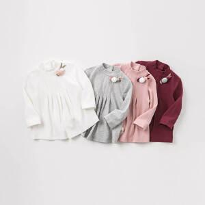 davebella戴维贝拉2018秋装新款女童纯色长袖裙式上衣DBM8652-1