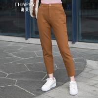 海贝2017年冬季新款女装休闲裤 韩版高腰纯色百搭直筒长裤外穿