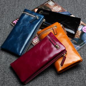 【春夏新品惠】新款欧美时尚真皮女士钱包中款 头层牛皮拉链女钱夹钱包