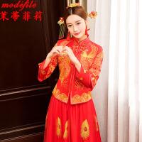 茉蒂菲莉 秀禾服 女士红色结婚敬酒上轿演出中式礼服婚纱女式复古新娘立领长款嫁衣时尚婚庆女装