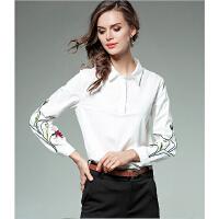 刺绣白衬衫女长袖春秋季17新款宽松韩版百搭学生 打底衬衣寸衫