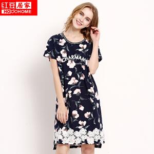 【专柜同款】红豆居家睡衣女柔棉蕾丝短袖性感可爱宽松家居睡裙