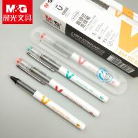 晨光优品直液式走珠笔0.5 学生考试专用速干中性笔大容量子弹头黑