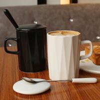 ins北欧简约陶瓷马克杯子咖啡杯带盖勺 情侣办公室家用创意喝水杯