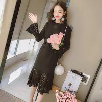 秋冬新款韩版甜美修身加厚荷叶边蕾丝拼接毛呢中长款连衣裙打底裙