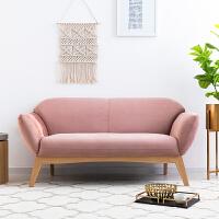 奇居良品 ins风北欧现代简约客厅沙发兰可尔粉色双人位实木布艺家居沙发
