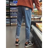 夏季新款男士牛仔裤休闲潮流不规则裤子韩版学生宽松直筒裤毛边男