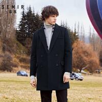 【直降�r:274】森�R毛呢大衣男冬季中�L款呢子大衣男�n版黑色�p排扣外套