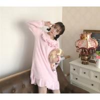 珊瑚绒睡裙秋冬款萌萌可爱少女心粉色荷叶边睡衣外穿家居柔软裙子