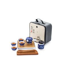 手绘旅行茶具车载便携包陶瓷功夫茶具套装茶壶快客杯茶盘整套