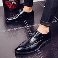 DAZED CONFUSED复古英伦格子纹男士皮鞋新款尖头男鞋子时尚理发师正装鞋商务休闲上