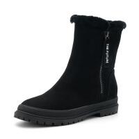 星期六(ST&SAT)冬季专柜同款牛皮革低跟女短靴SS8411A756