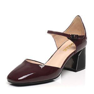 Belle/百丽2017春专柜同款简约时尚漆皮牛皮女凉鞋BOM30AK7
