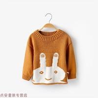 冬季儿童针织套头毛衣秋冬装婴幼儿打底线衫男女童兔子1-3岁宝宝衣服秋冬新款