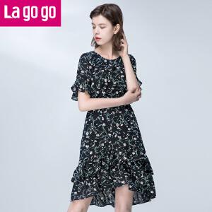 【商场同款】Lagogo/拉谷谷2017年夏季新款碎花荷叶边收腰显瘦短袖连衣裙女中长款裙子GALL305F30