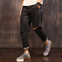 黑色牛仔裤男士夏季破洞复古潮流小脚九分裤韩版学生宽松大码裤子潮流 黑色