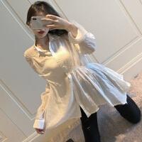 2018秋装新款气质宽松长袖白色衬衫中长款衬衣防晒POLO领上衣女装 图片色 均码