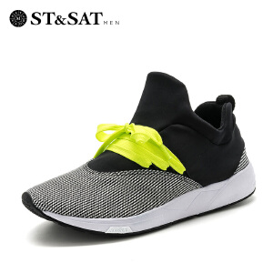 星期六(ST&SAT) 专柜同款男鞋弹力布平跟圆头时尚单鞋SS71129820