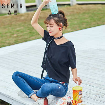 森马短袖t恤女2018夏季新款黑色体恤上衣宽松显瘦V领织带丝巾潮