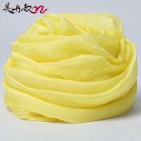 鹅黄色丝巾女薄长款春秋百搭纯色纱巾雪纺薄围巾夏季防晒披肩两用