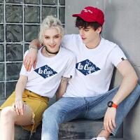 Lee Cooper新款圆领套头休闲衫LOGO印花纯色情侣款打底衫男式t恤