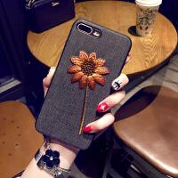 刺绣苹果7/8plus手机壳挂绳iPhone6s保护套苹果XsMax软壳冬天女款