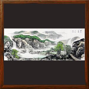 1.8米山水画《富水长流》实力画家松涛 边秀后R2669