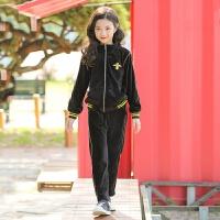 2019 童装冬款女童套装韩版中大童金丝绒两件套 黑色