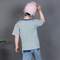 木木屋2021新款夏季男童T恤中大童运动短袖纯棉修身款印花上衣