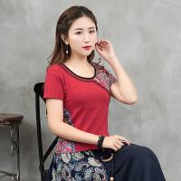 中国风2018夏装新款民族风女装花色拼接上衣修身显瘦打底衫t恤女