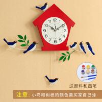 钟表挂钟客厅创意简约欧式现代田园时钟挂表卧室静音夜光石英钟大 20英寸