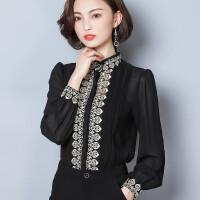 雪纺衬衫女长袖2018春装新款宫廷风复古刺绣灯笼袖白衬衣气质上衣
