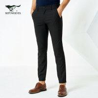 七匹狼西裤2018春新品男士时尚商务休闲黑色混纺西裤通勤长裤