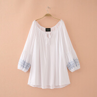 加肥加大胖MM200斤天甜美系带长袖打底衫纯色简约套头连衣裙