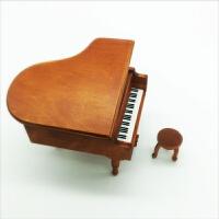 钢琴木质音乐盒八音盒天空之城儿童生日礼物送女生闺蜜女朋友可爱 木黄色 天空之城